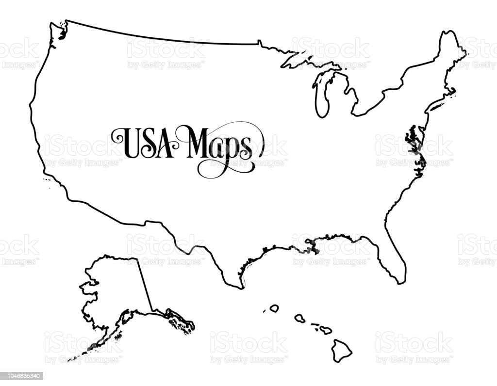 Map Of The United States Of America Outline Illustration On ...
