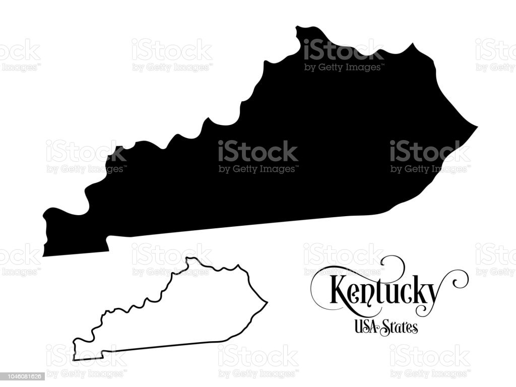 Map Of The United States Of America State Of Kentucky Illustration ...