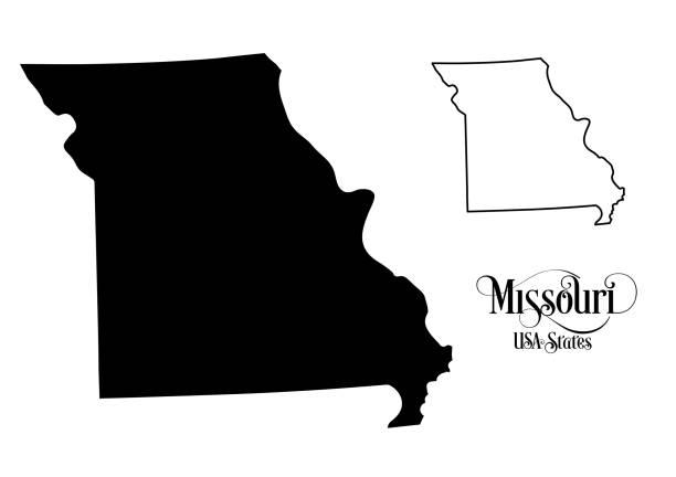 map of the united states of america (usa) state of missouri - illustration on white background - missouri stock illustrations