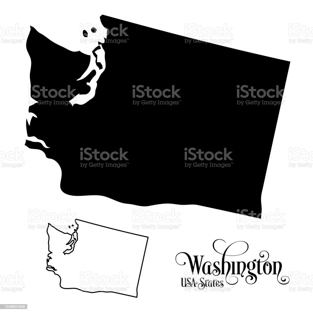 Map of The United States of America State of Washington -...