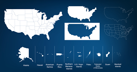 Map of The United States of America USA with territories and Islands. Different map variations for your design. Stock Vector illustration isolated on white background.