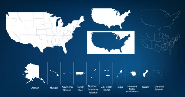 Map of The United States of America USA with territories and Islands. Different map variations for your design. Stock Vector illustration isolated on white background. Map of The United States of America USA with States Name in Blue Color Illustration on White Background american culture stock illustrations