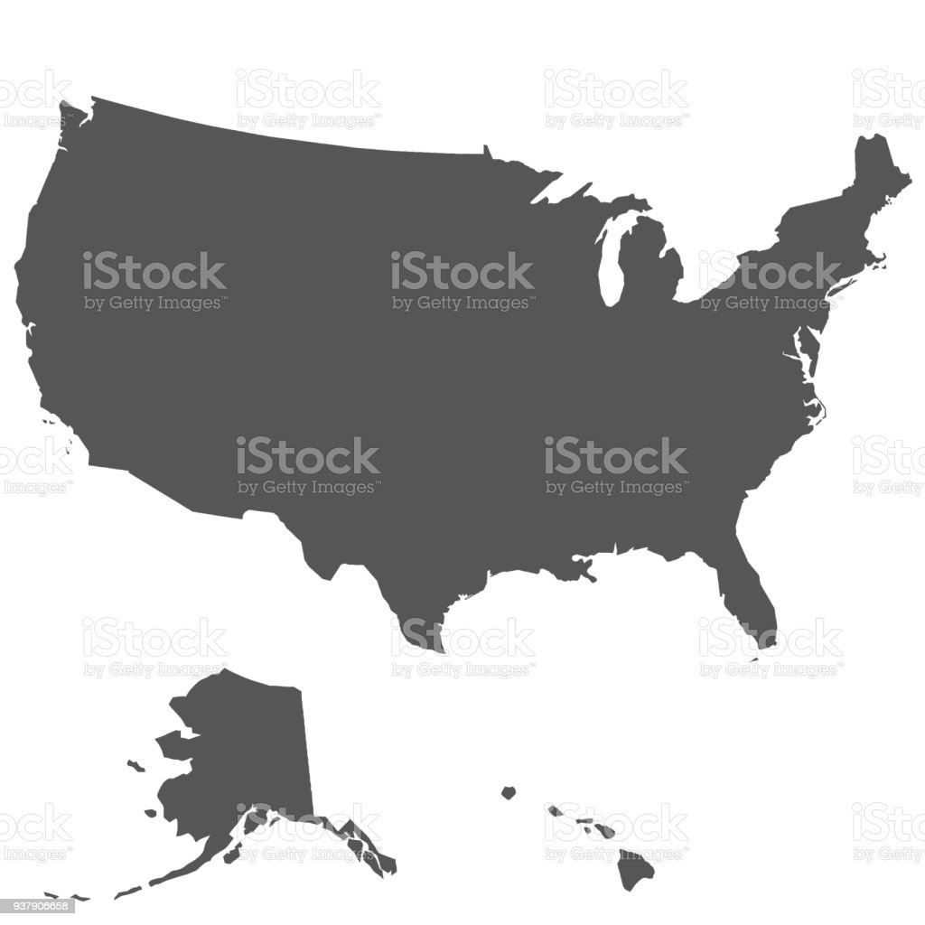 Map of the United States of America vector art illustration