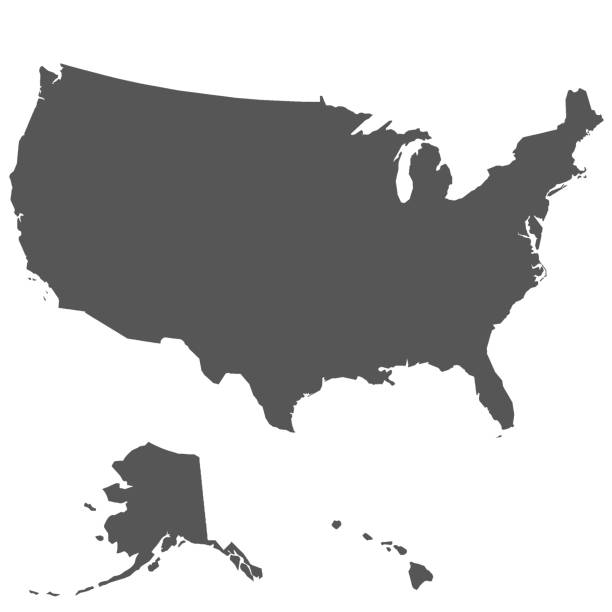 ilustraciones, imágenes clip art, dibujos animados e iconos de stock de mapa de los estados unidos de américa - siluetas de mapas