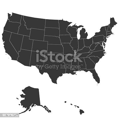 Map of the United States of America high accuracy, high resolution, with the boundaries of States. Vector illustration.