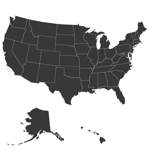 Map of the United States of America Map of the United States of America high accuracy, high resolution, with the boundaries of States. Vector illustration. eastern usa stock illustrations