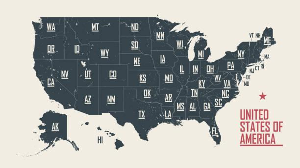 미국 의 지도, 미국 주에 대한 국경과 약어, 상세한 벡터 그림 - 미국 stock illustrations