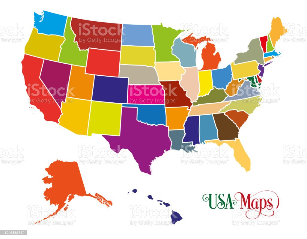 Map Of The United States Of America With Colorful States ...