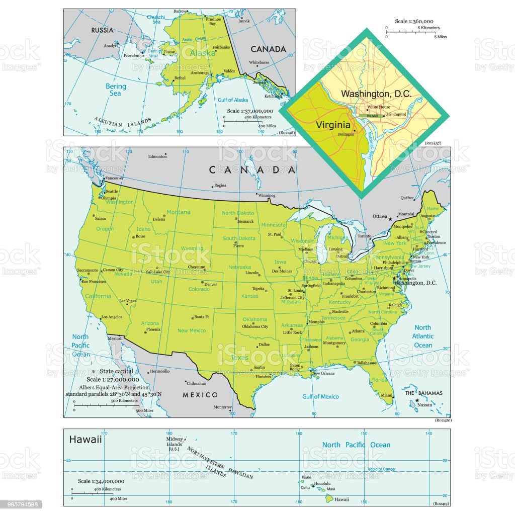 Map Of The United States Of America With States And Major ...
