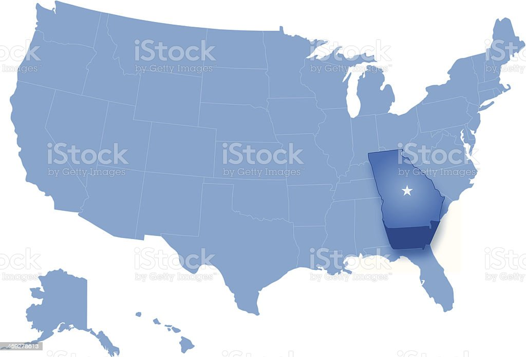 United States Map Georgia.Map Of The United States Where Georgia Is Pulled Out Stock Vector