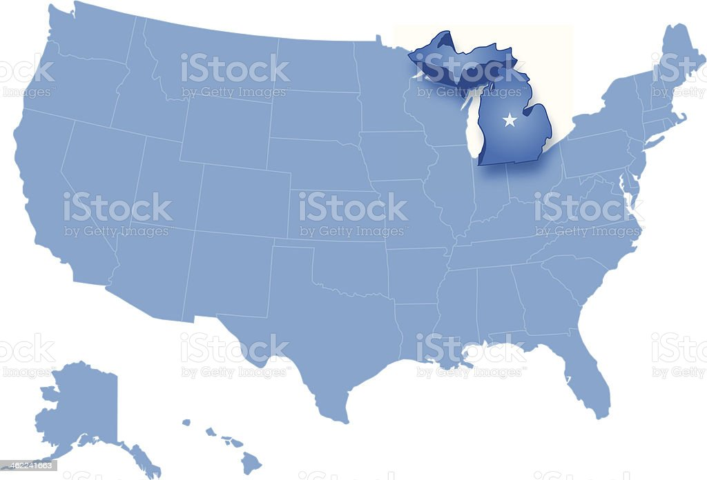Map Of The United States Where Michigan Is Pulled Out Stock Vector - Map of us michigan
