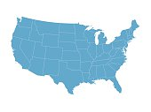 map of the United States with the borders of states