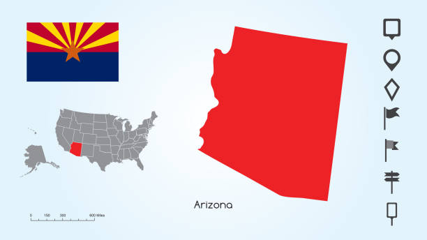 Map of The United States with the Selected State of Arizona And Arizona Flag with Locator Collection vector art illustration