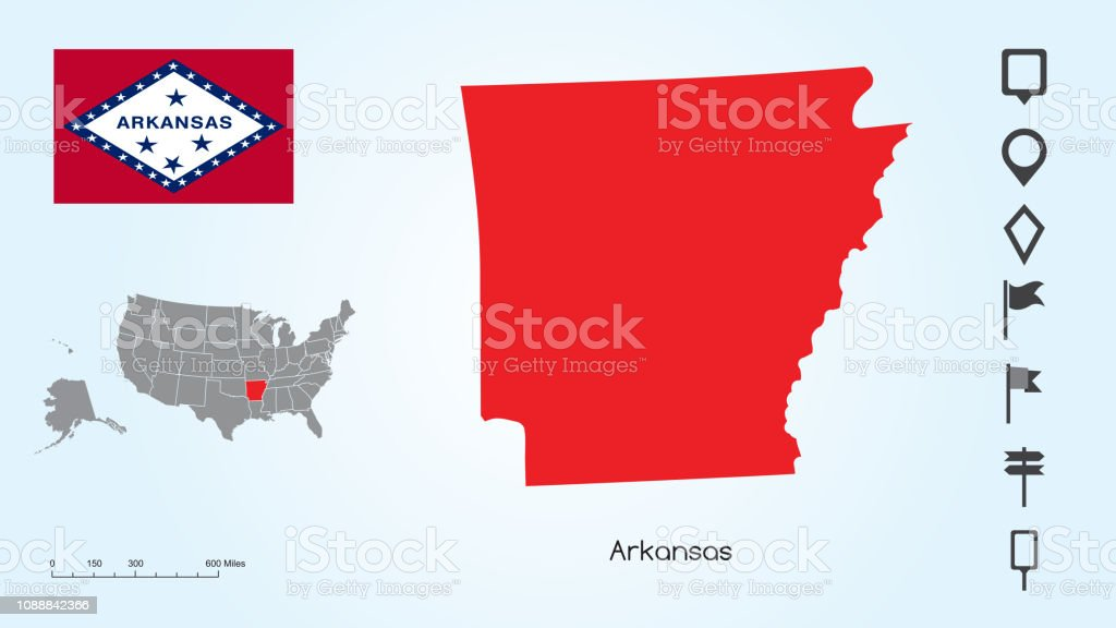 Map Of The United States With The Selected State Of Arkansas And ...