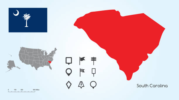 Map of The United States with the Selected State of South Carolina And South Carolina Flag with Locator Collection Map of The United States of America with the Selected State of South Carolina And South Carolina Flag with Locator Collection. south carolina stock illustrations