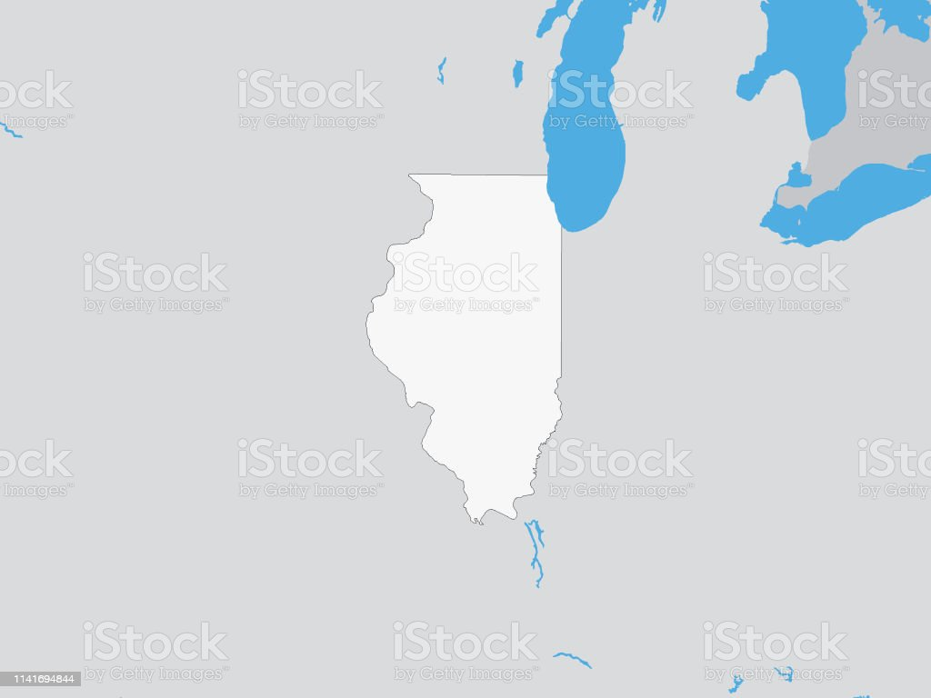 Map Of The Us Federal State Of Illinois Stock Vector Art More - Illinois-on-a-map-of-the-us