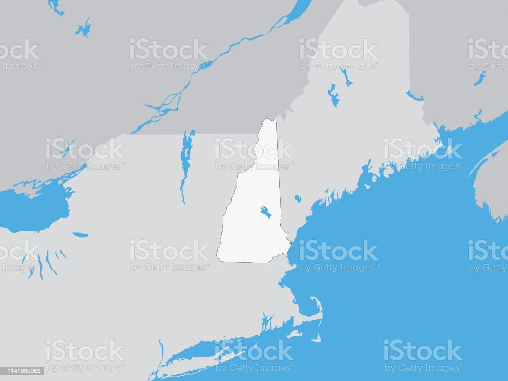 Map Of The Us Federal State Of New Hampshire Stock Illustration ...