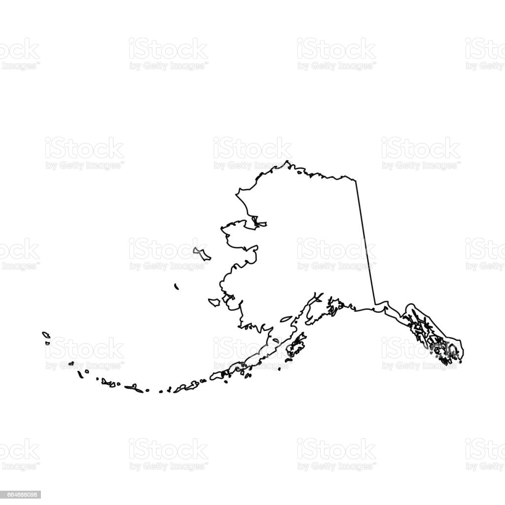 map of the U.S. state Alaska vector art illustration
