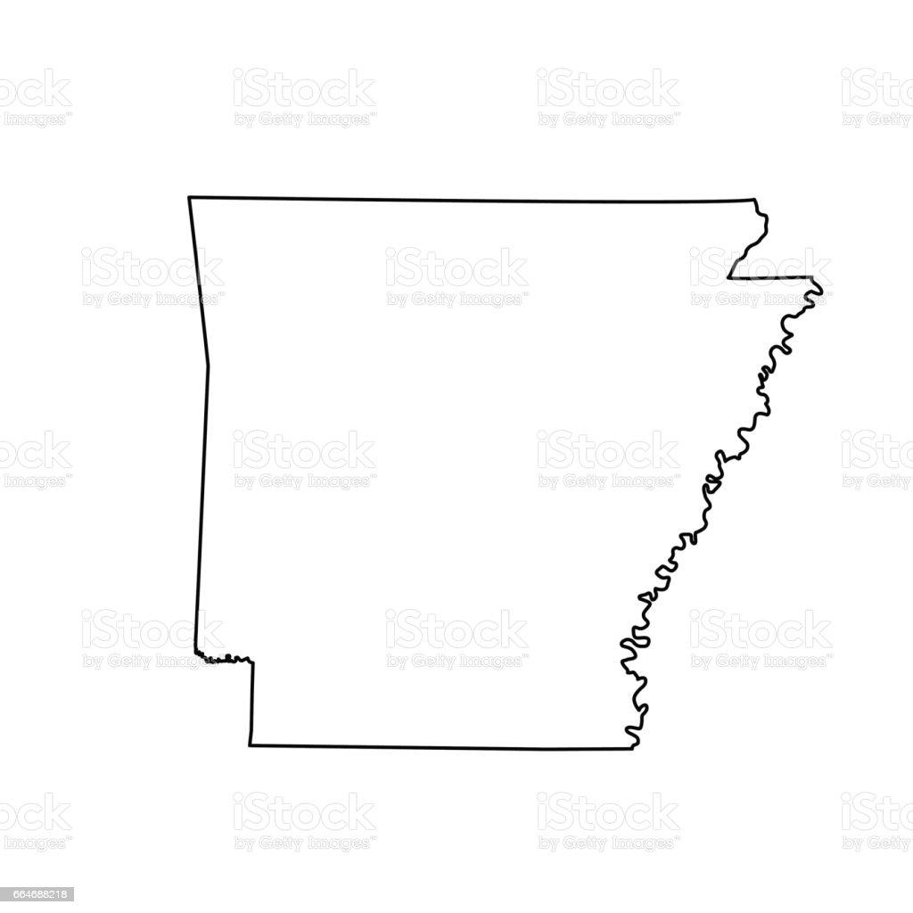 map of the U.S. state Arkansas vector art illustration