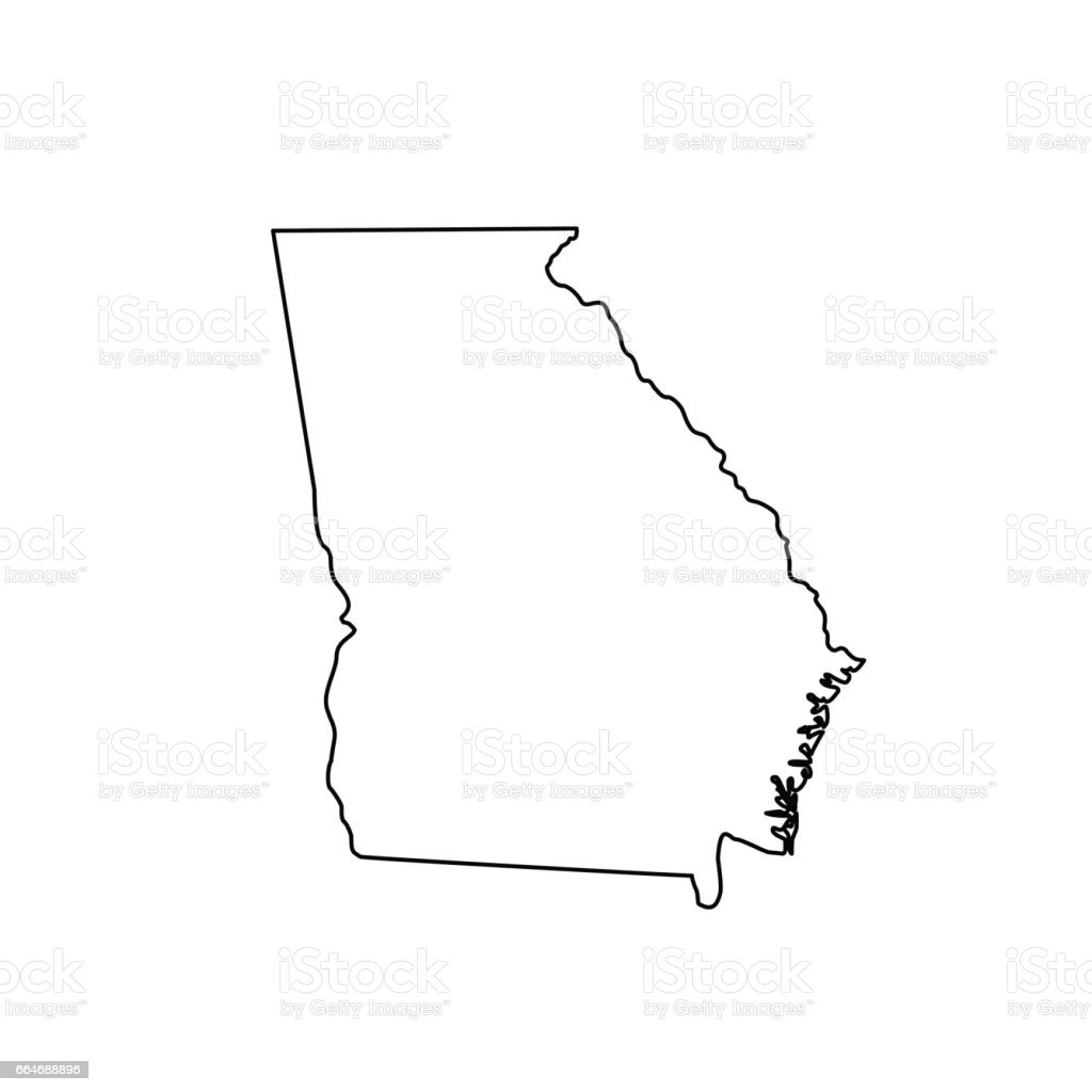 Map Of The Us State Georgia Stock Vector Art IStock - Georgia map drawing