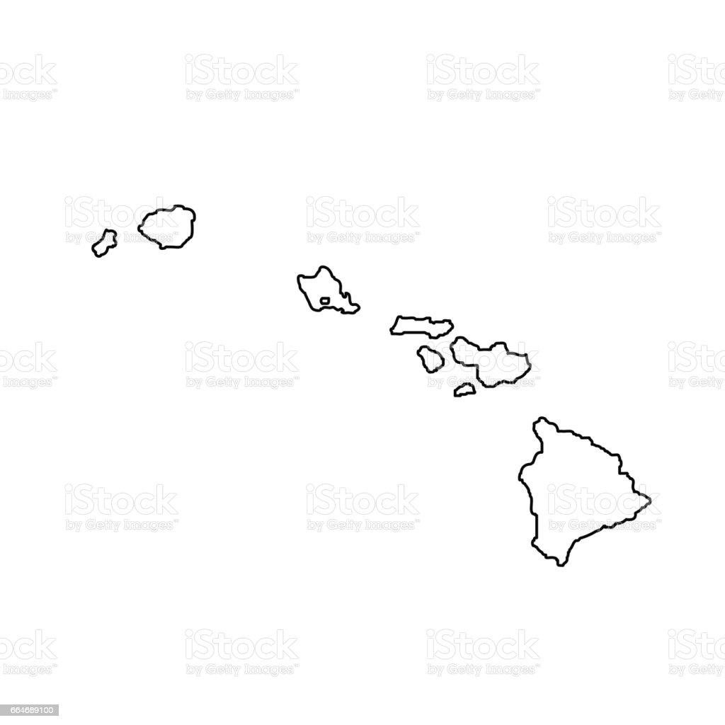 Map Of The Us State Hawaii Stock Vector Art IStock - Map us and hawaii