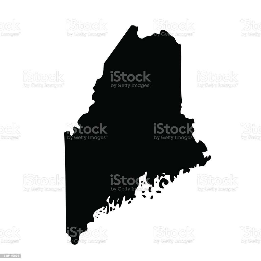 map of the U.S. state Maine vector art illustration