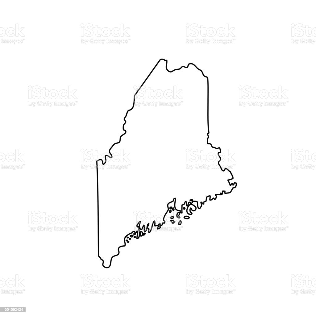 Map Of The Us State Maine Stock Vector Art IStock - Maine us map