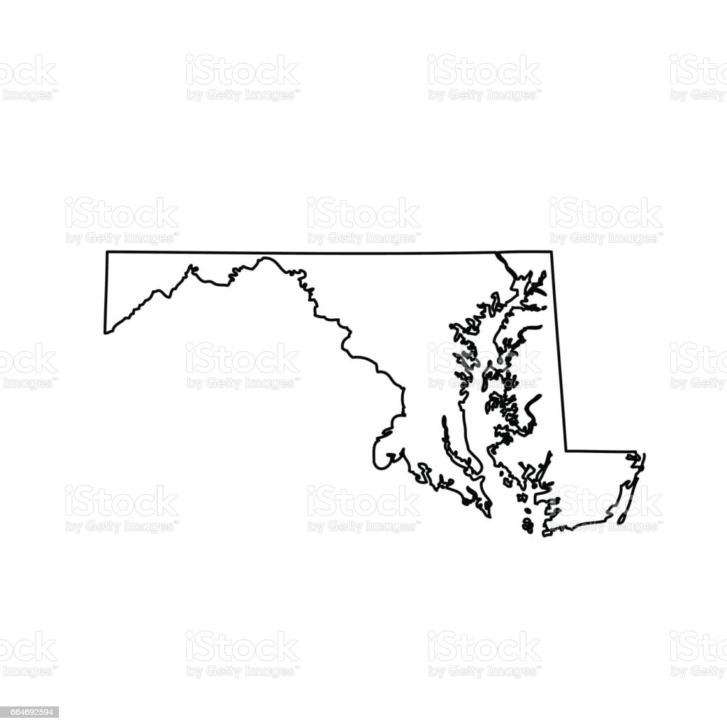 Map Of The Us State Maryland Stock Vector Art & More Images of ...