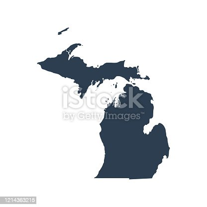 istock map of the U.S. state  Michigan 1214363215