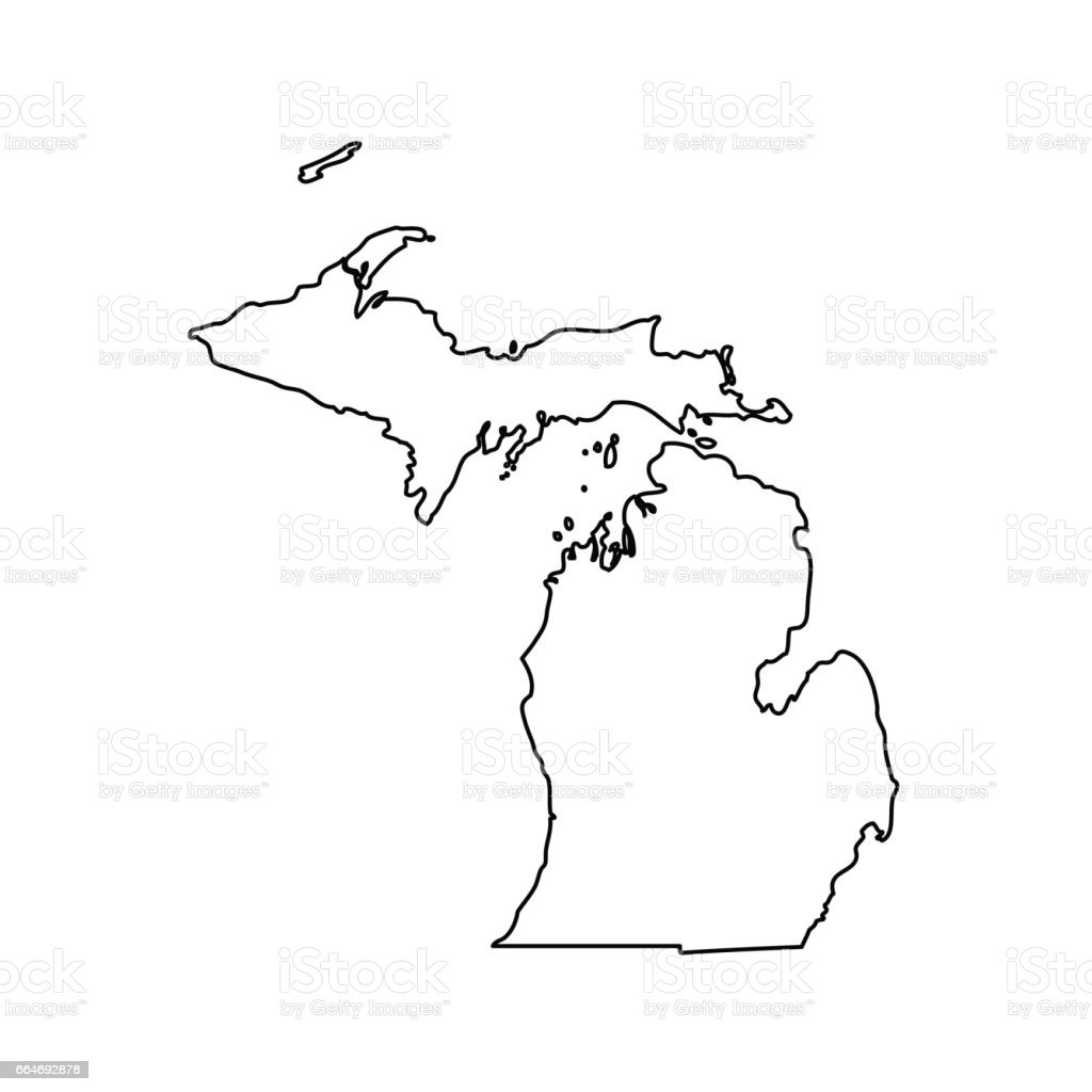 Map Of The Us State Michigan Stock Vector Art IStock - Michigan on a us map