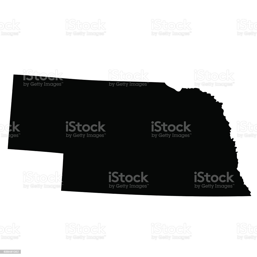 map of the U.S. state Nebraska vector art illustration