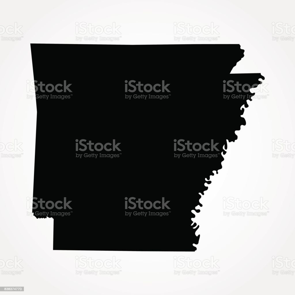 map of the U.S. state of Arkansas vector art illustration