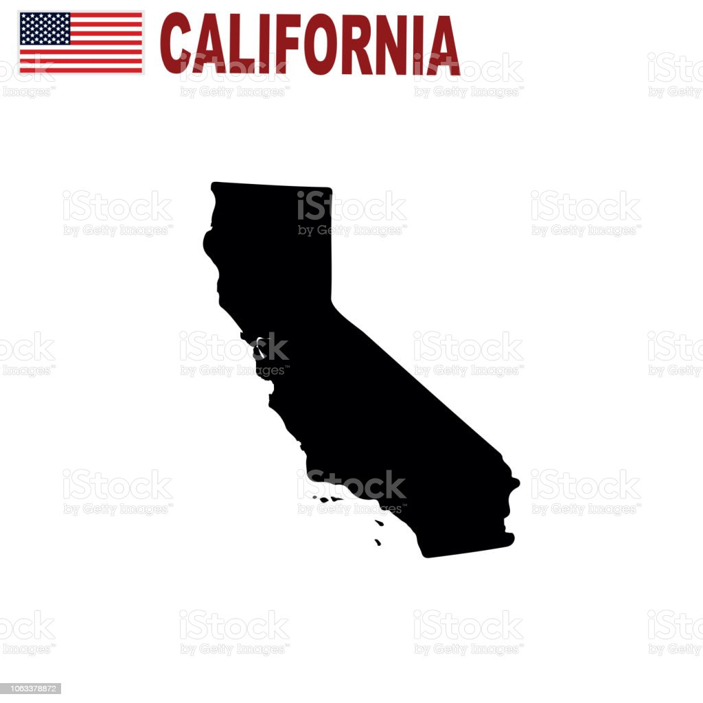 Map Of The Us State Of California On A White Background Stock Vector - California-on-the-us-map