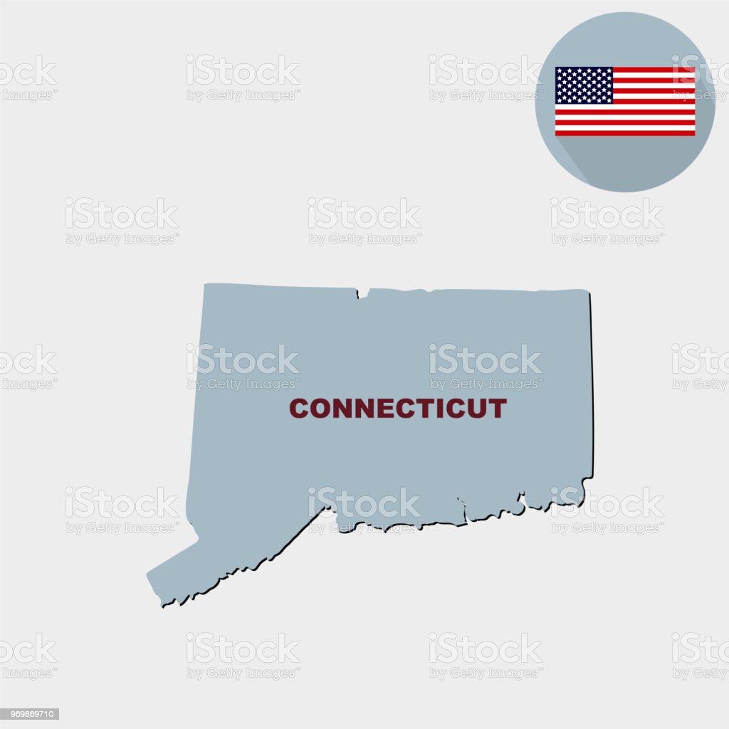 Ilustración de Mapa Del Estado De Connecticut De Estados Unidos ...