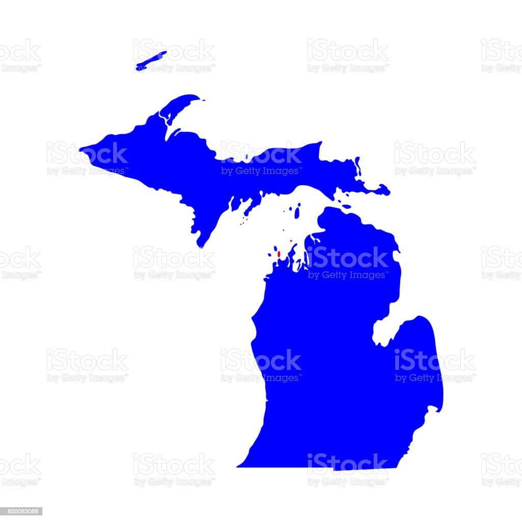 map of the U.S. state of Michigan vector art illustration