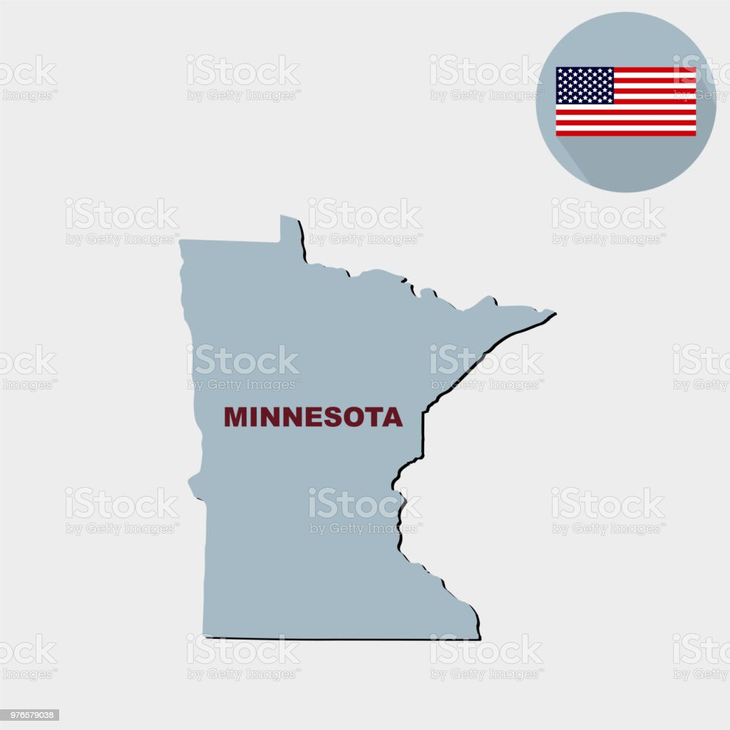 Map Of The Us State Of Minnesota On A Grey Background America Stock