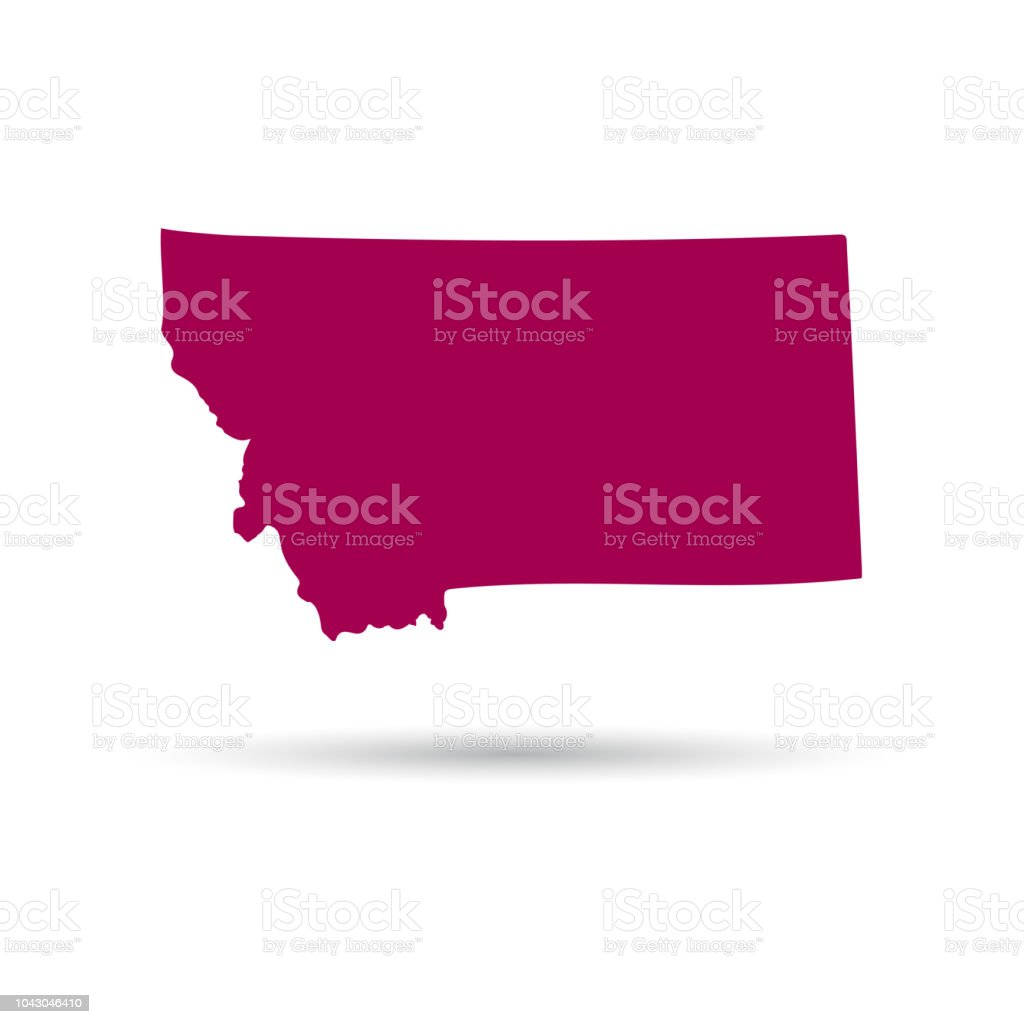 Map Of The Us State Of Montana On A White Background Stock Vector ...