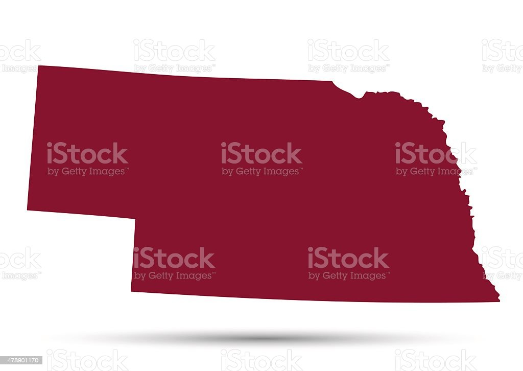 Map of the U.S. state of Nebraska vector art illustration