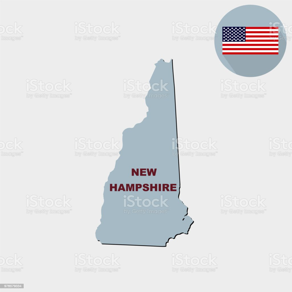 Map of the U.S. state of New Hampshire on a grey background. Ame vector art illustration