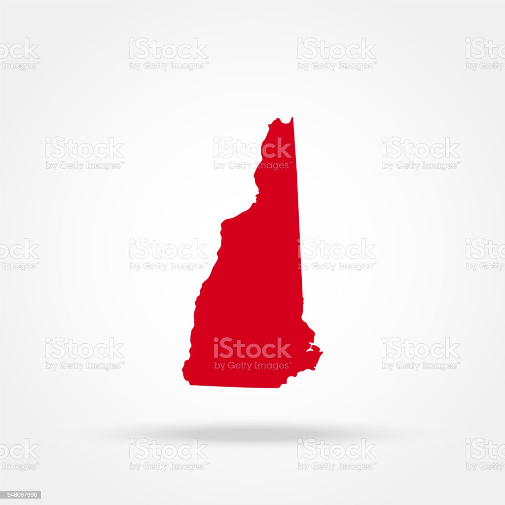 map of the U.S. state of New Hampshire vector art illustration