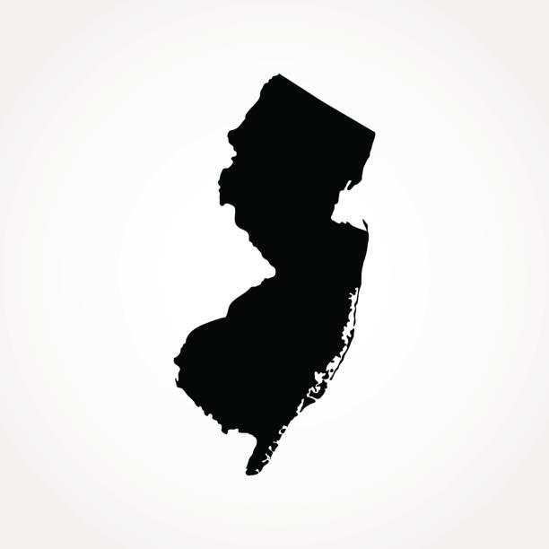 karte des us-bundesstaates new jersey - landkarten silhouetten stock-grafiken, -clipart, -cartoons und -symbole
