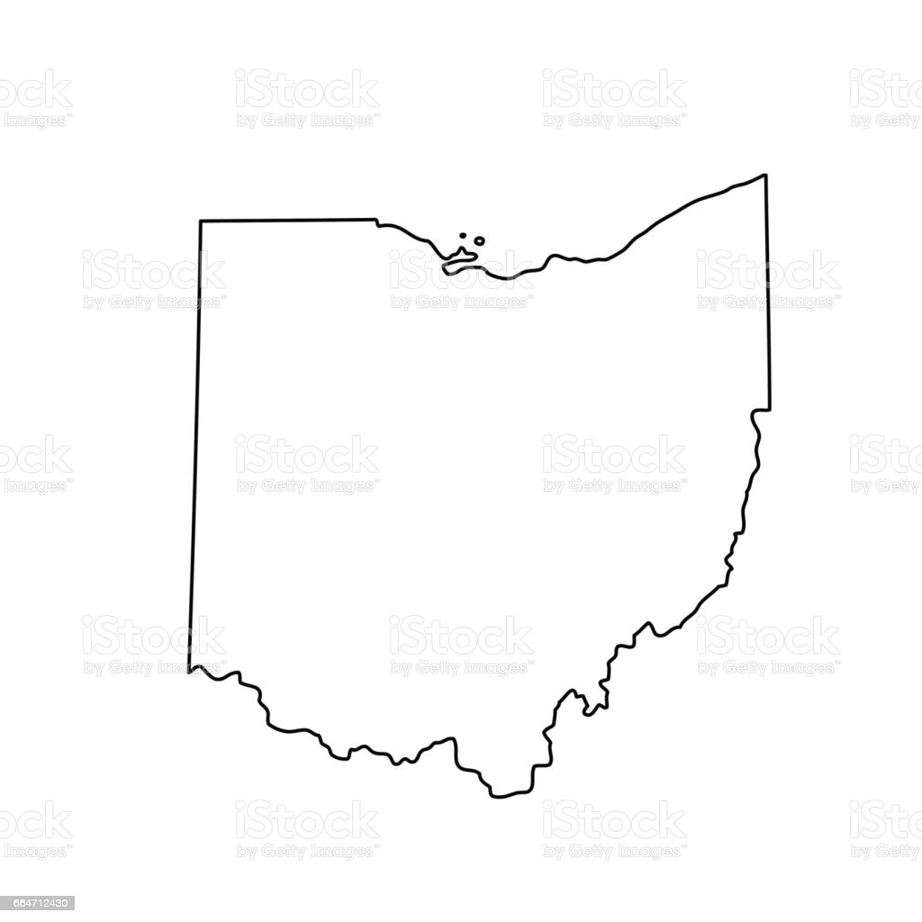 map of the U.S. state of Ohio vector art illustration