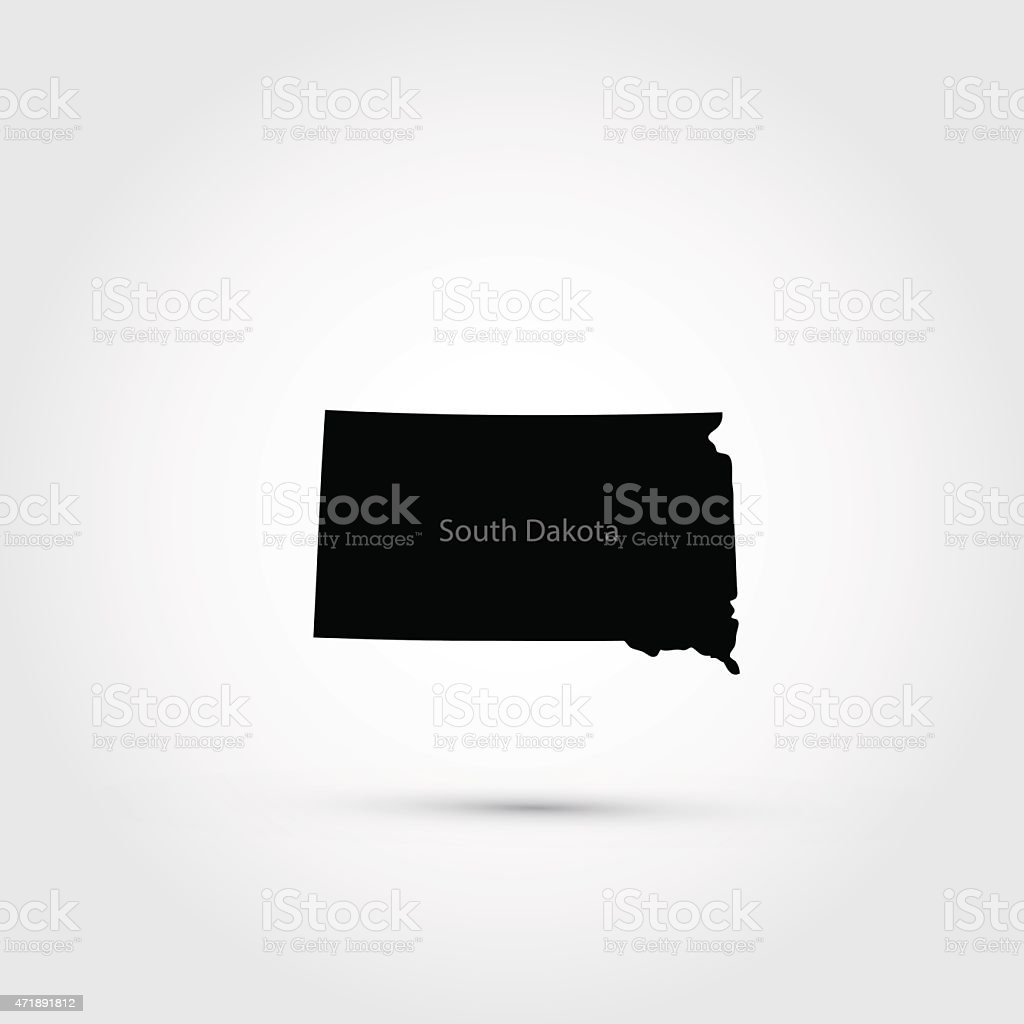 Map of the U.S. state of South Dakota vector art illustration