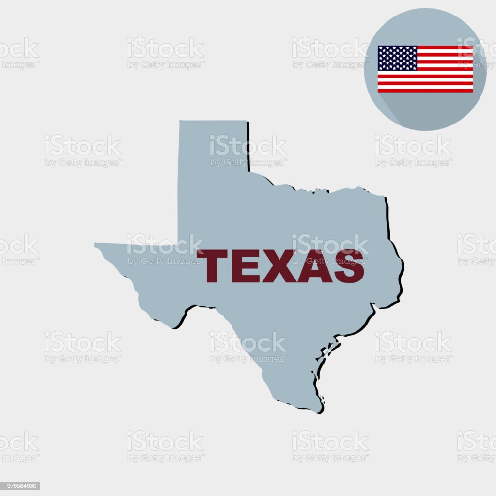 Map Of Texas Us.Map Of The Us State Of Texas On A Grey Background American Fl Stock