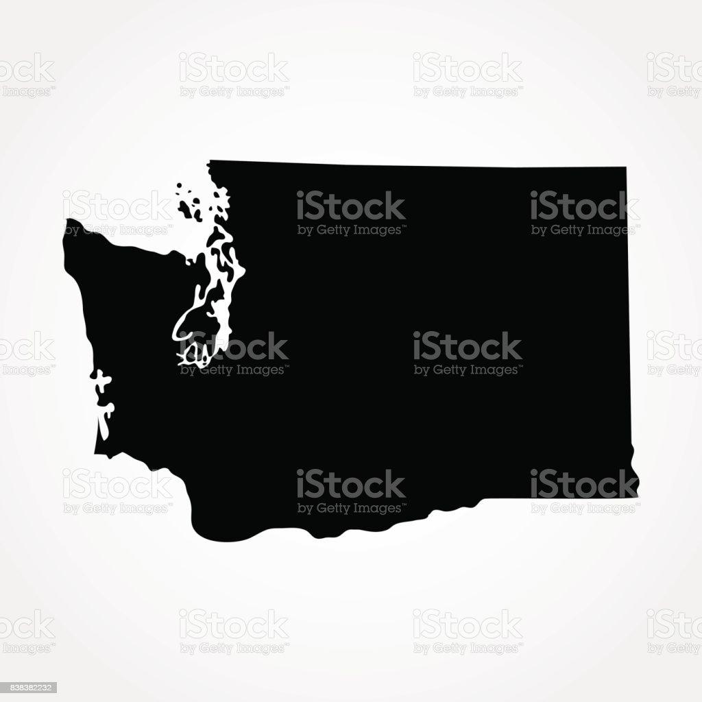 map of the U.S. state of Washington vector art illustration