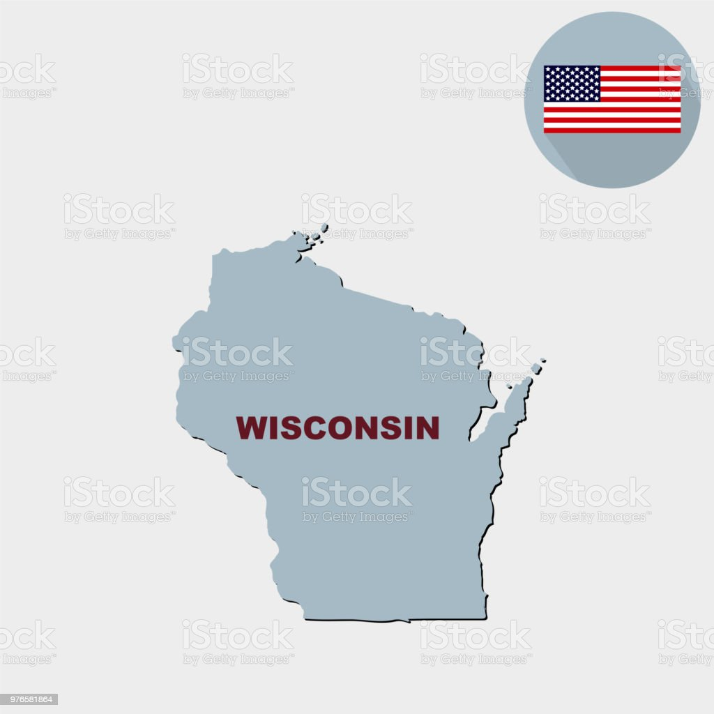 Map Of The Us State Of Wisconsin On A Grey Background America Stock ...