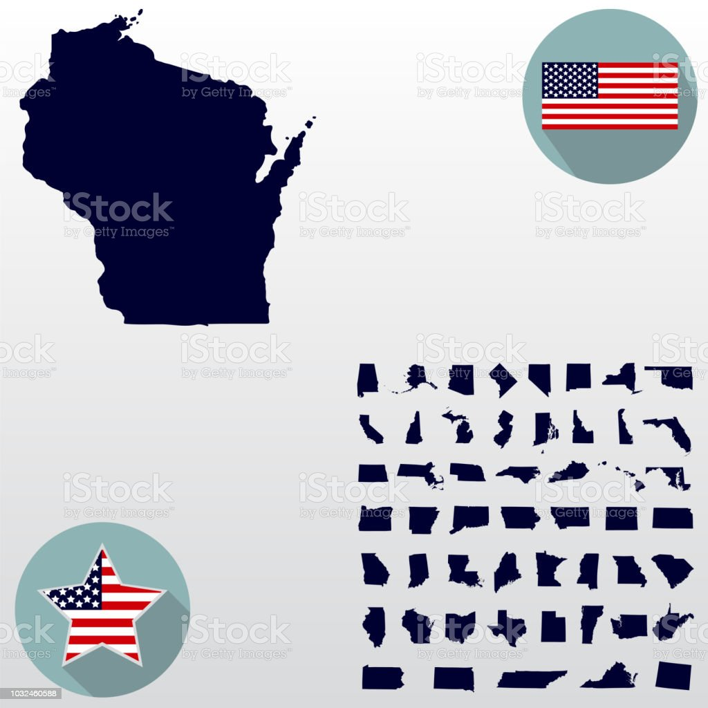 Map Of The Us State Of Wisconsin On A White Background American Flag
