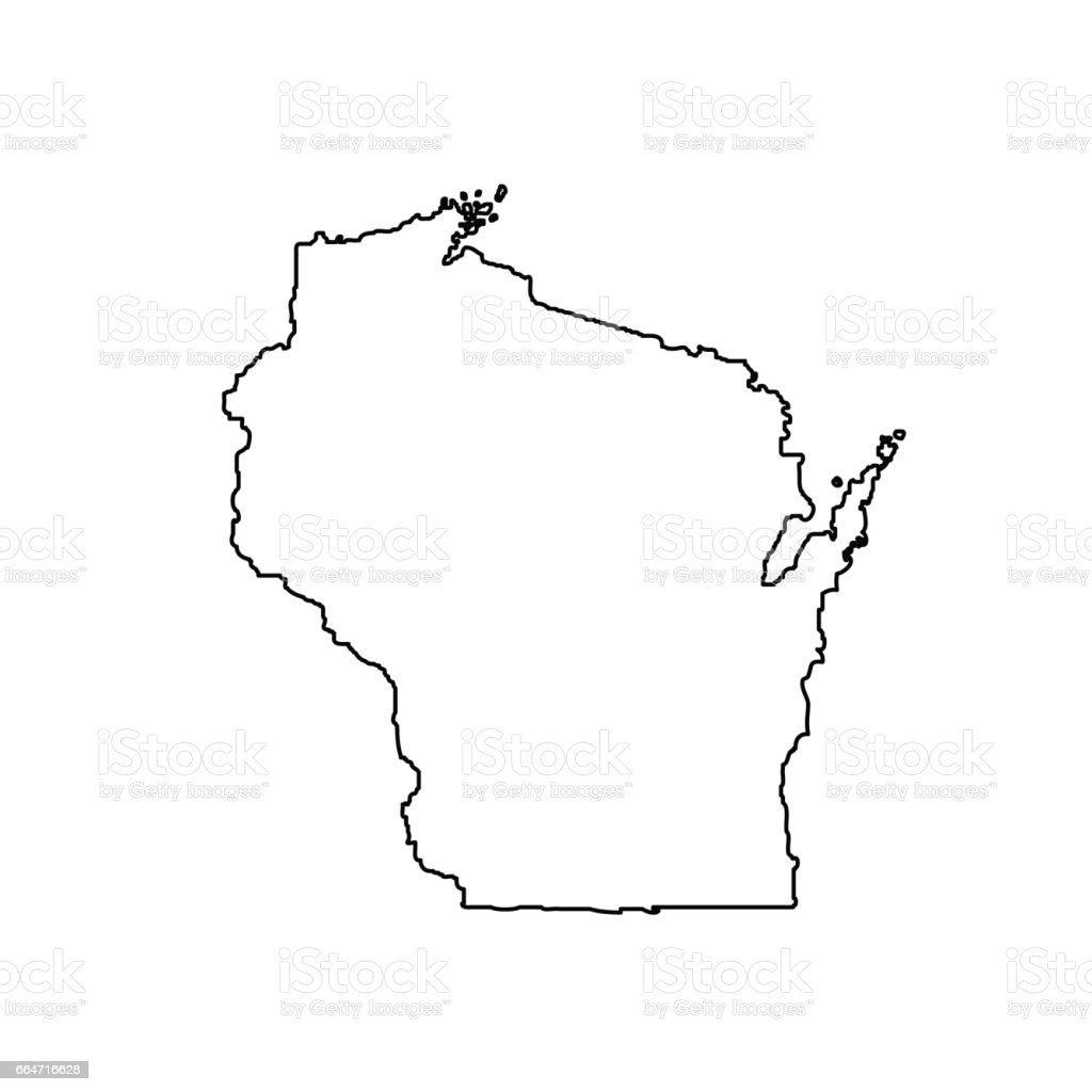 Map Of The Us State Of Wisconsin Stock Vector Art IStock - Wisconsin on a us map