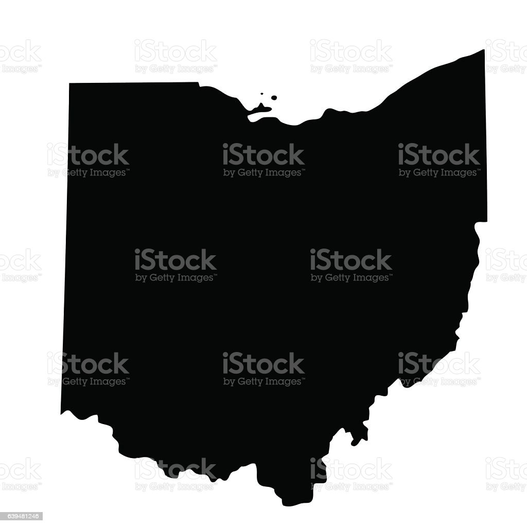map of the U.S. state Ohio vector art illustration