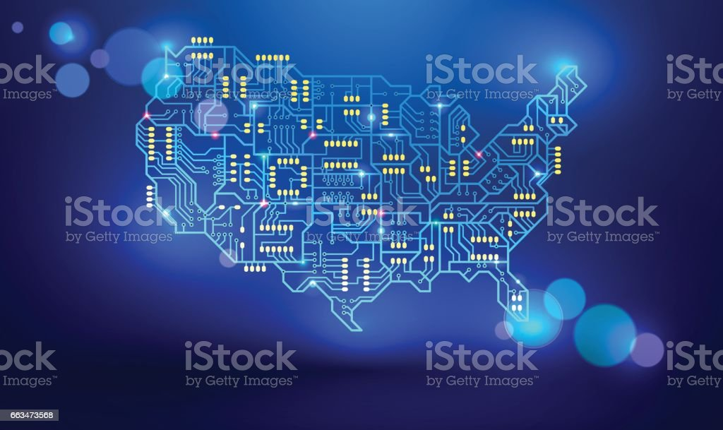 Map Of The Usa As A Printed Circuit Board Stock Vector Art & More ...